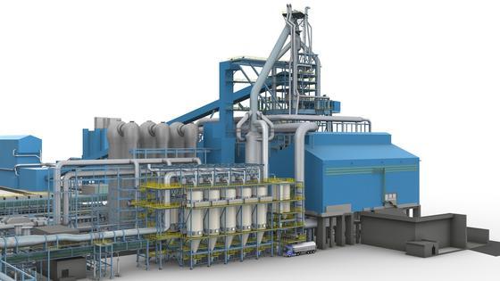 Eine solche Merim-Trockenentstaubungsanlage von Siemens (Computeranimation) wird bis Mitte 2013 beim türkischen Stahlerzeuger Kardemir errichtet.