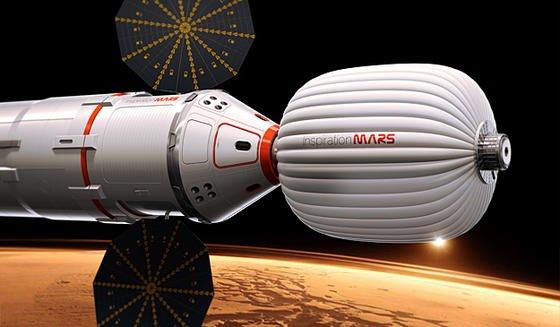 Mit diesem Raumschiff will Dennis Tito ein Ehepaar zum Mars fliegen lassen.