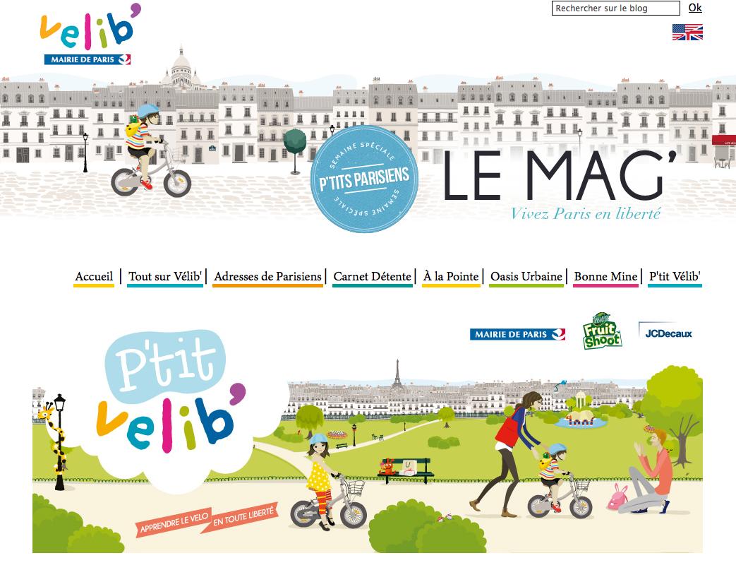 Das Pariser Leihradsystem P'tit Velib' für Kinder hat auch einen eigenen Webauftritt.