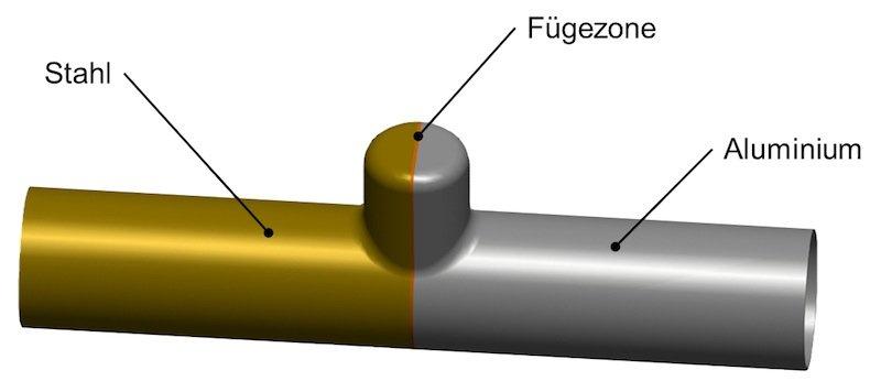 Die Kombination aus Stahl und Aluminium soll sogenannte Tailored Tubes leichter machen. Die Forscherverlöten beide Materialien und bringen diese beim Hydroforming in Form. Damit sich beide gleichmäßig umformen, wird der Stahl vorher erwärmt.