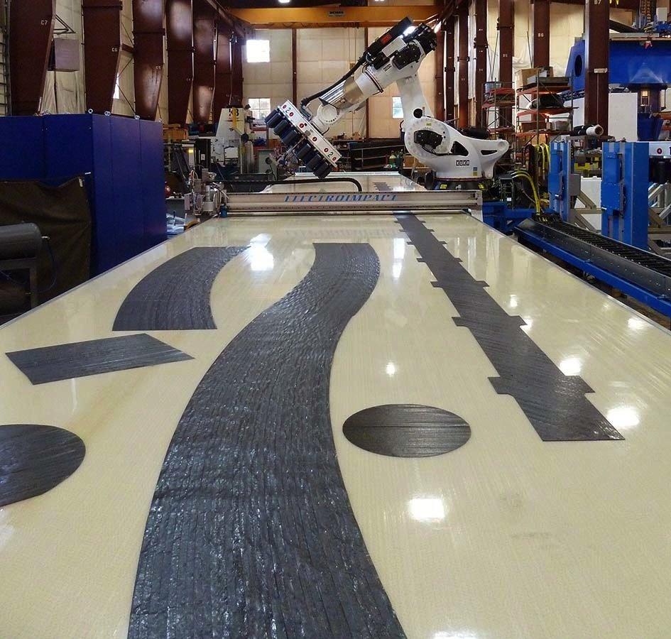 Ein Roboter des Maschinenbauers Electroimpact, von dem Boeing beliefert wird.