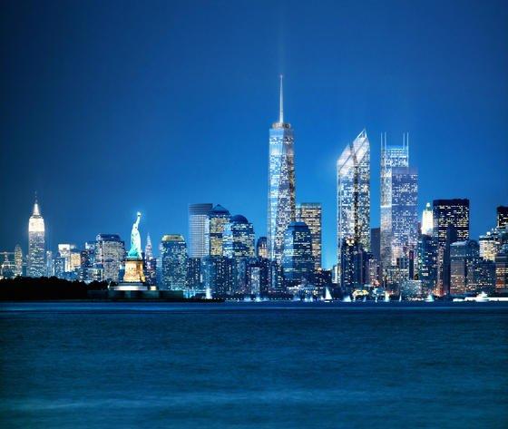 Montage der New Yorker Skyline nach Fertigstellung des One World Trade Centers: Das neue Gebäude wurde mit Bautechnik aus Deutschland errichtet.