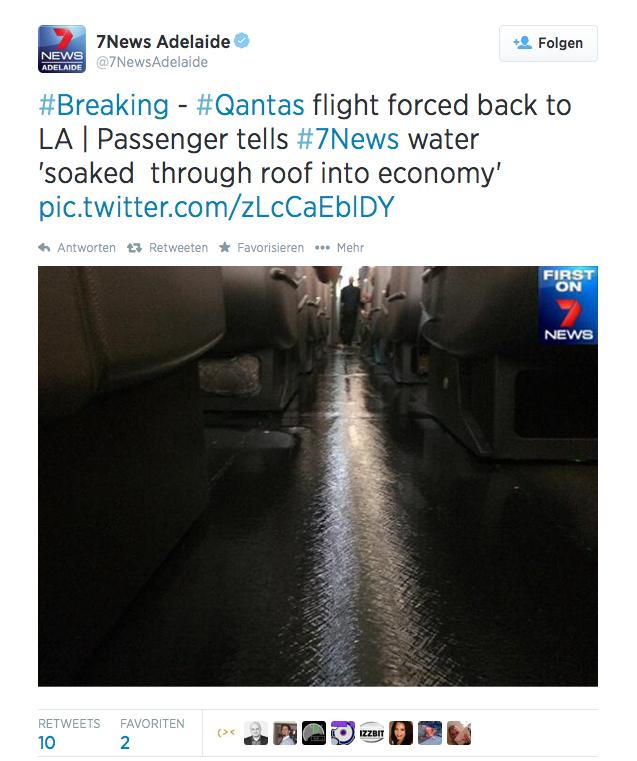 Twitter-Tweet zum Wasserrohrbruch in einem Airbus A380: Deutlich zu sehen ist das Wasser, das über den Kabinenboden fließt.