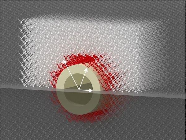 Das Material besteht aus genau berechneten nadelförmigen Elementen, sodass die Festigkeit auf definierte Weise vom Ort abhängt. (Bild: T. Bückmann/KIT)