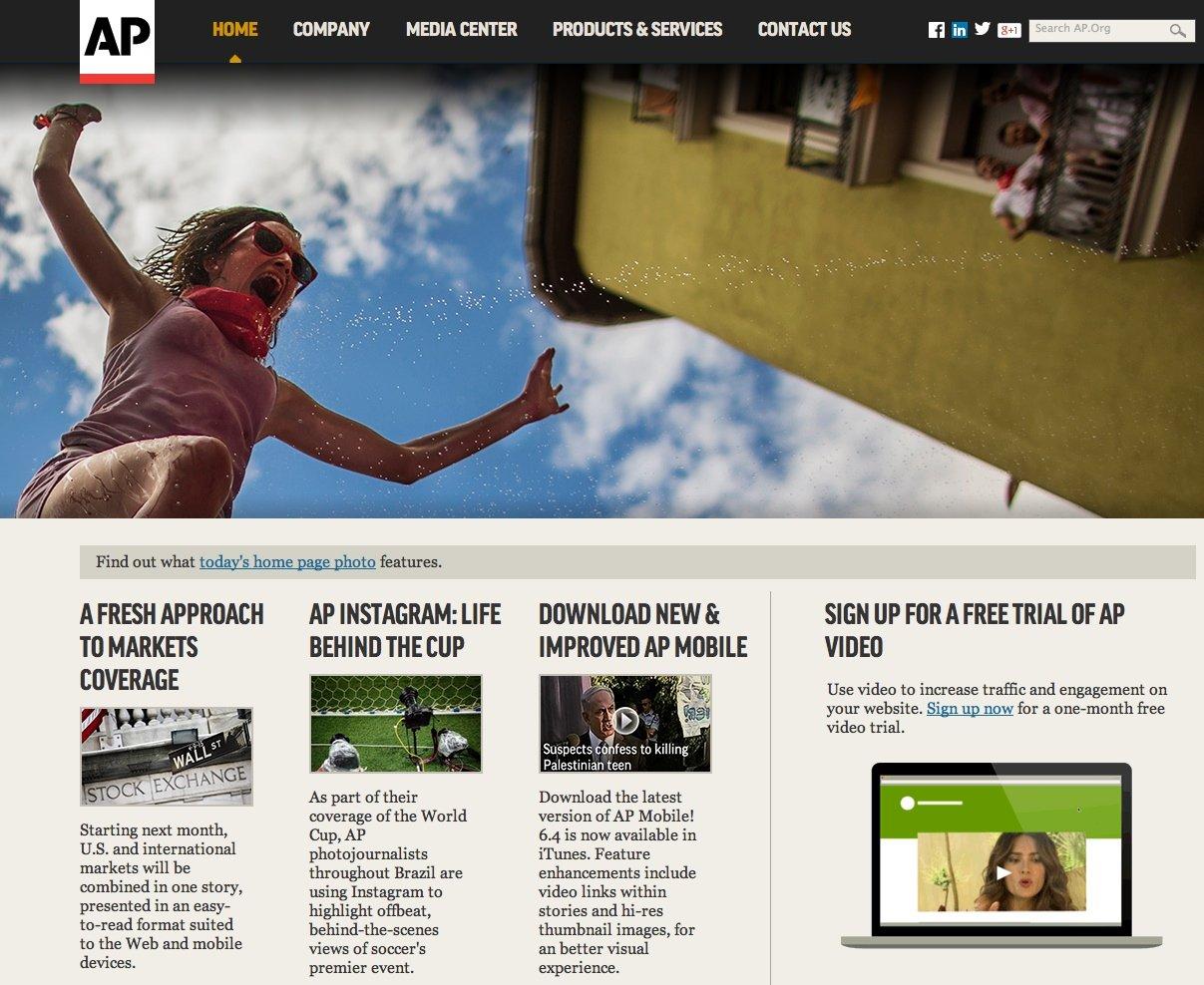 Homepage der Nachrichtenagentur AP: Künftig will die amerikanische Agentur Unternehmensnachrichten von Computerprogrammen schreiben lassen.