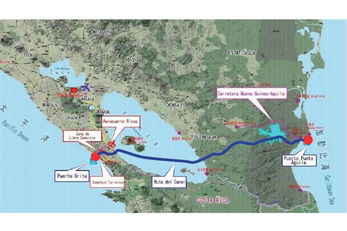 Der künftige Nicaraguakanal verbindet auf einer Strecke von 278 Kilometern den Atlantik mit dem Pazifik. Dabei durchschneidet die Wasserstraße auch den Nicaraguasee, das größte Trinkwasservorkommen Mittelamerikas.