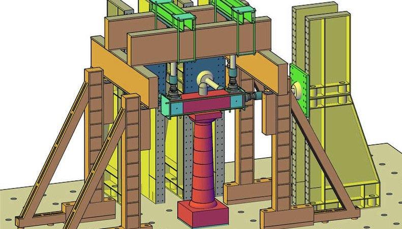 Am Modell einer antiken Säule (rot) testen die Forscher Belastungen, die bei einem simulierten Erdbeben auftreten. Die Daten fließen direkt in ihr virtuelles Modell eines antiken Tempels ein.