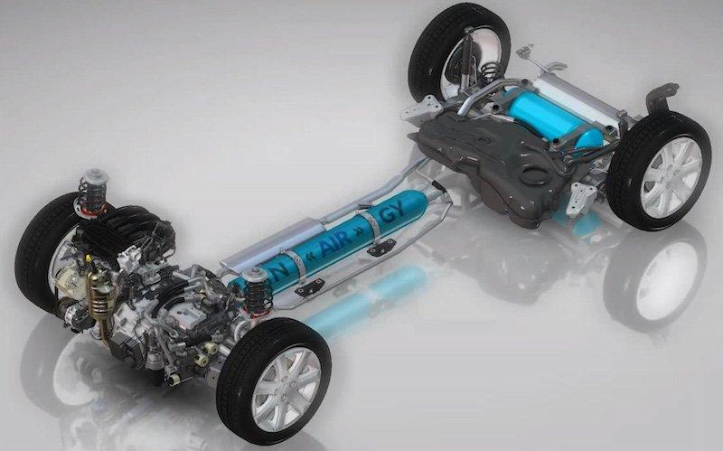 Der Antriebsstrang eines Hydraulik-Hybrids verfügt neben einem klassischen Verbrennungsmotor über einen Druckspeicher und ein Reservoir.