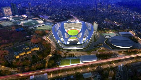 Entwurf des Olympiastadions in Tokio: Das Stadion, das einem futuristischen Fahrradhelm gleicht, wird in Tokio als zu groß kritisiert. Deshalb hat ArchitektinZaha Hadid jetzt einen abgespeckten Entwurf erarbeitet.