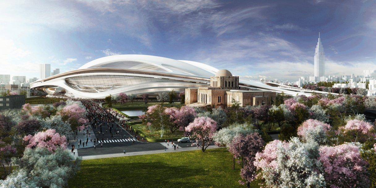 Architektin Zaha Hadid hat eine luftige Dachkonstruktion entworfen, deren Freiflächen von flexiblen Planen abgedeckt werden können. Das Stadion ist mit Baukosten von rund 1,2 Milliarden Euro eines der teuersten der Welt.