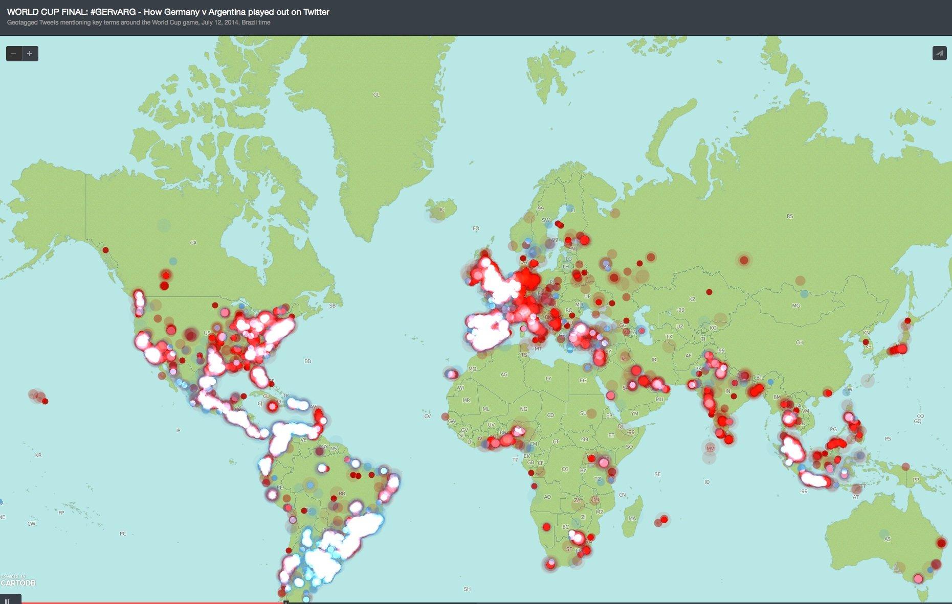 Twitter-Weltkarte während des WM-Endspiels Deutschland-Argentinien: Die meisten Tweets gab es in Europa, Süd- und Nordamerika. Wenig los war in Afrika.