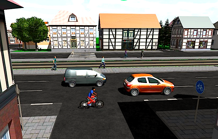 Das Videospiel erlaubt es, verschiedene Übungen im Verkehr zu trainieren, um spielerisch die Verkehrsregeln zu lernen.