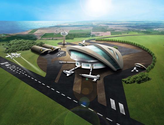 Modell des künftigen Weltraumbahnhofes in Großbritannien: Die britische Regierung hat acht Standorte in die engere Wahl gezogen. Alle liegen am Meer und verfügen bereits über eine Start- und Landebahn. 2018 soll der Weltraumbahnhof eröffnen.