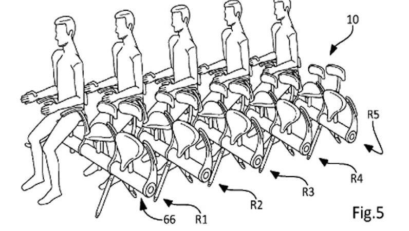 Funktionsskizze aus dem Patentantrag: Passagiere könnten zukünftig aneinandergereiht auf Sätteln sitzen. Wie dabei die Sicherheit gewährleistet sein soll, erscheint schleierhaft.