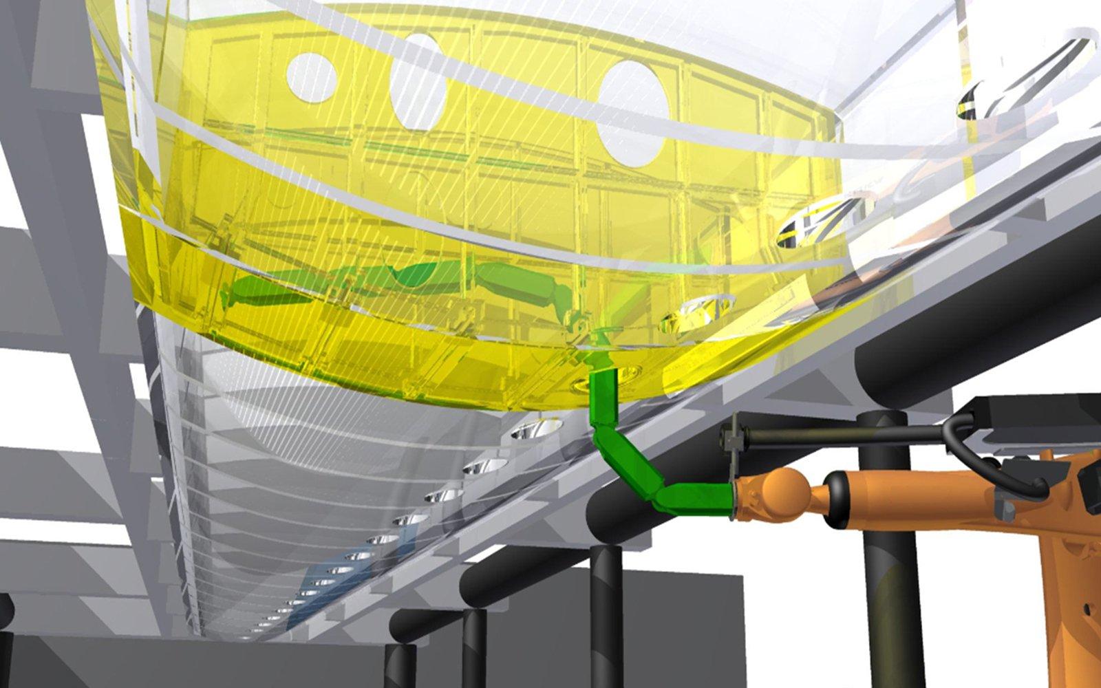 Wie eine Schlange windet sich der Roboter mit seinen acht Kipp- und Drehgelenkendurch die enge Öffnung in den Innenraum der Tragfläche. Dadurch erreicht er auch hinterste Winkel der Kammer.