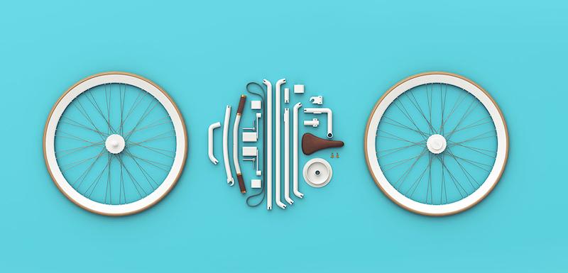 Das Kite Bike besteht aus 21 Bauteilen, die beim Zusammenstecken entweder einrasten oder sich festdrehen lassen. Rahmen, Lenker und Sattelstange bestehen aus einem hohlen Aluminiumrohr, die Radnabe aus Stahl.