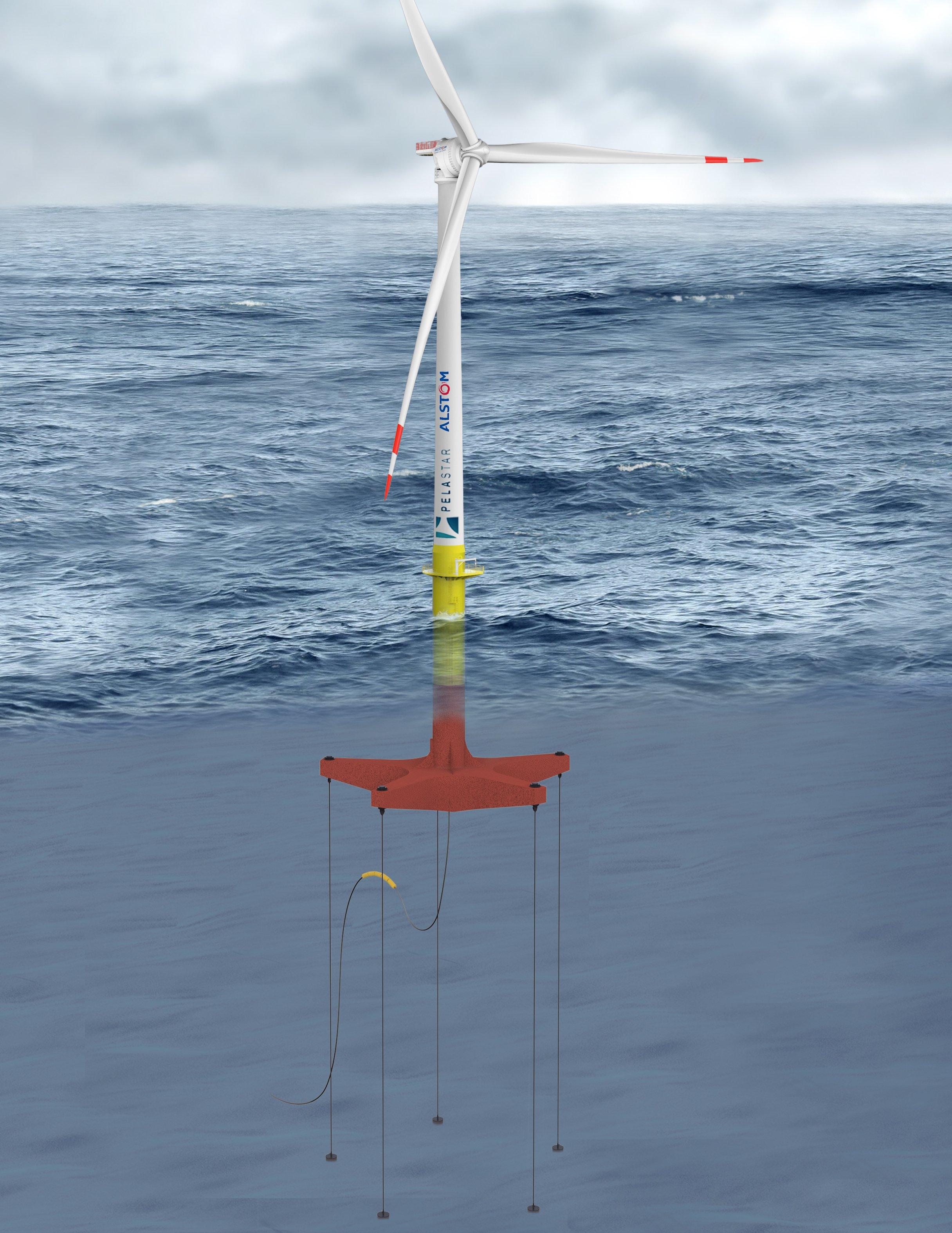 Die Plattform taucht in bis zu zehn Metern Tiefe, die Kabel können mehrere Hundert Meter lang sein. Wassertiefe wäre zukünftig kein Hemmschuh mehr für Offshore-Anlagen.