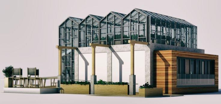 """Das Konzept """"Philéas"""" ist ein Mix aus Wohnraum und Büros.Zum zentralen Bestandteil des Gebäudes gehören Gewächshäuser auf dem Dach, in dem die Bewohner ihr eigenes Gemüse anpflanzen können."""