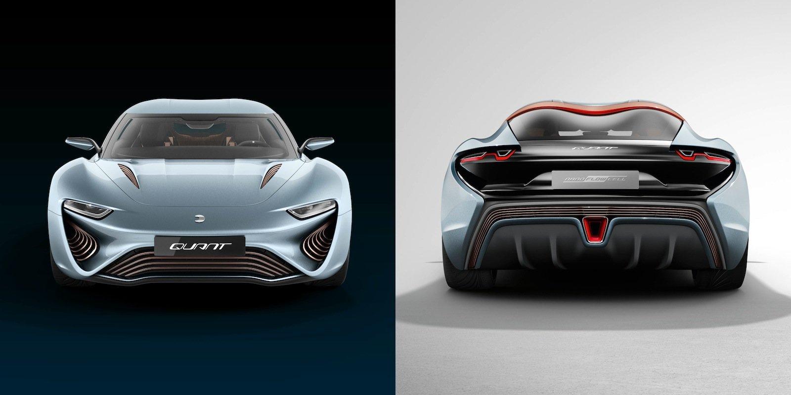 So präsentiert sich der Quant e von vorne und hinten. Der E-Sportwagen darf ab sofort auf der Straße fahren.