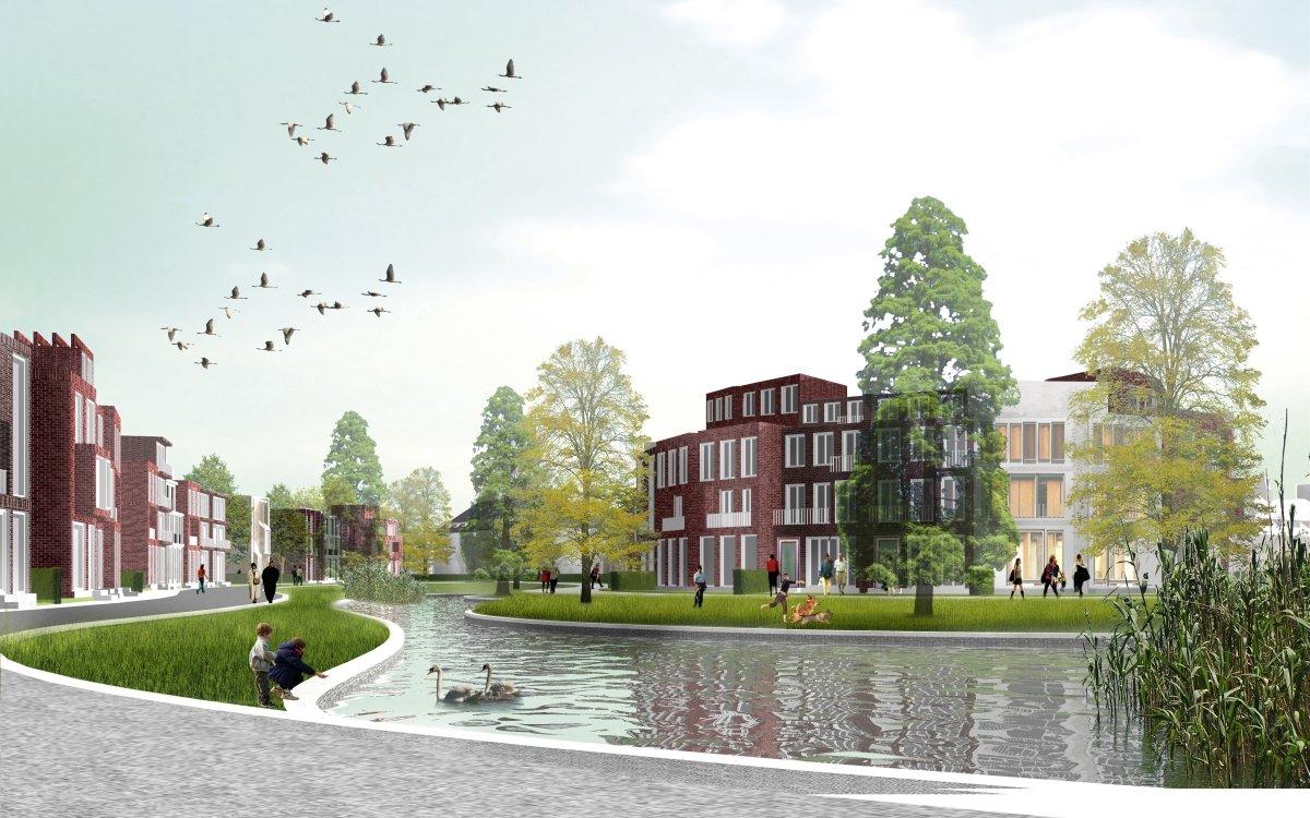 Der Kühnbachteich im neuen Hamburger Stadtquartier Jenfeld: Die Wasserflächen werden ausschließlich aus Regenwasser der Siedlung gespeist. Ab 2015 werden die ersten Bewohner dort einziehen.