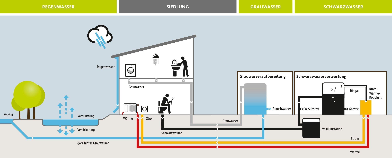 Die Grafik zeigt das innovative Prinzip der Abwasserwirtschaft, mit dem der Bezirk Wandsbek und die Hamburger Wasserwerke in der Jenfelder Au neue Wege gehen.