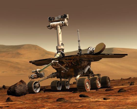 Rekordhalter des Universum:Der Marsrover Opportunity hat mit 40 Kilometern Wegstrecke auf dem Mars alle Rekorde im Universum eingestellt. Eigentlich sollte der Rover nur 90 Tage und 700 Meter weit fahren. Aber wie der VW Käfer: Er rollt, und rollt, und rollt ...