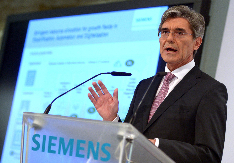 Siemens-Chef Joe Kaeser am 7. Mai auf der Halbjahres-Pressekonferenz des Konzerns: Der Gewinnzuwachs fiel geringer aus als von Analysten erwartet.