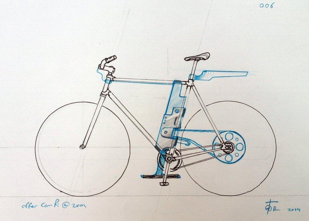 Entwurf des Flux-Fahrrades von Designstudent Offer Canfi.