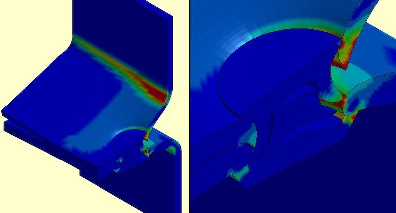 So sieht es im Computermodell aus, wenn eine sogenannte Stanznietverbindung versagt: Besonders stark verformt sind die roten Bereiche.