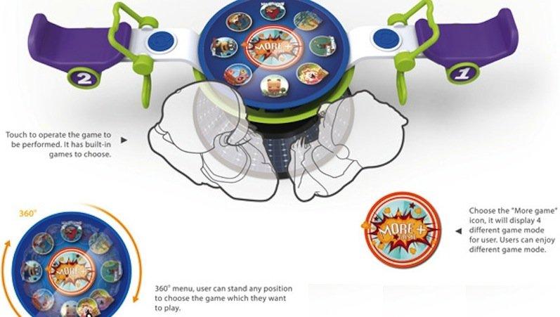 Kinder können sich über den Touchscreen ein Spiel aussuchen. Zur Auswahl stehen unter anderemBalancespiele, Rennen und ein Flipper.