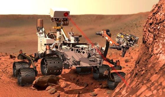 Marsrover Curiosity bei der Arbeit auf dem Mars: 2020 will die NASA einen weiteren Rover auf den Mars bringen, der dort sogar versuchen soll Luft herzustellen.