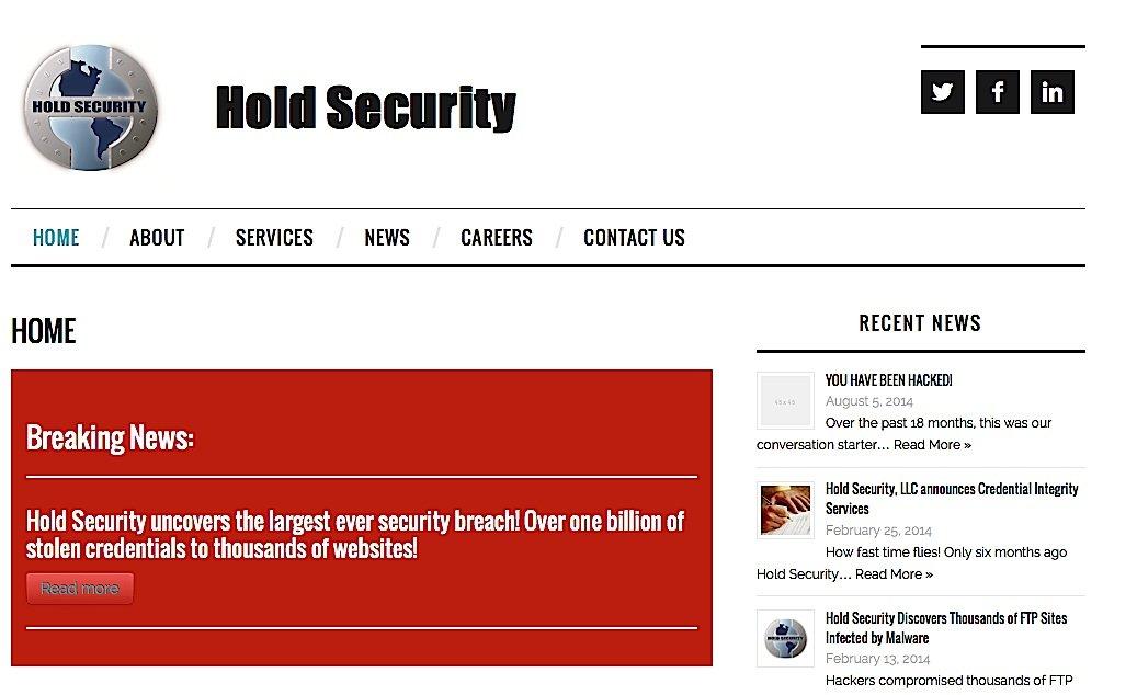 Webseite des Sicherheitsunternehmens Hold Security: Das Unternehmen hat herausgefunden, wie die russischen Hacker vorgegangen sind.