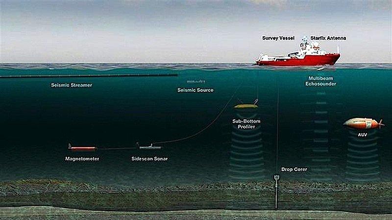 Die beiden Schiffe des niederländischen Bergungsunternehmen Fugro werden versuchen, mit Sonarsonden den zerklüfteten Meeresboden nach Wrackteilen abzusuchen.