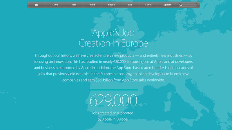 Screenshot der neuen Apple Homepage, die die Erfolge des Konzern als Jobmotor darlegt: 629.000 Arbeitsplätze will der Konzern in Europa direkt und indirekt geschaffen haben.
