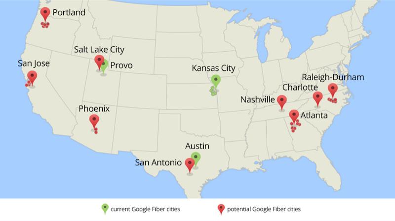 Karte der realisierten und der potentiellen Standorte für das Google-Glasfaser-Projekt Fiber.