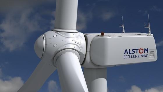 Alstom entwirft unter anderem Onshore-Turbinen. Die Nennleistung dieser Schwachwindanlage Eco 122 liegt bei 2,7 Megawatt.