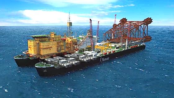 Größtes Schiff Der Welt Soll ölplattformen Auf Den Rücken Nehmen