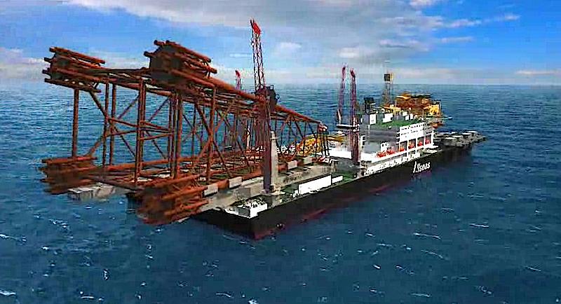 Portalkräne können Lasten bis zu 48.000 Tonnen heben und so den Unterbau einer Ölplattform an Bord nehmen.