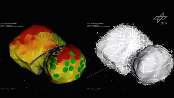 Das Modell zeigt die Beleuchtung der Oberfläche und Regionen auf dem Kometen Tschuri, die für eine Landung infrage kämen.