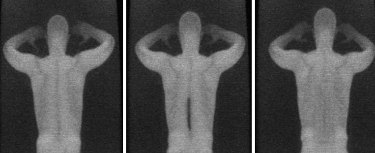 Messer im Rücken: Das linke Bild zeigt die Testperson ohne Messer, in der Mitte erkennt der Scanner das aufgeklebte Messer. Mit einer dicken Schicht Teflon-Tape präpariert bleibt die Waffe unsichtbar, wie die rechte Aufnahme zeigt.