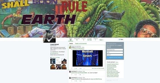 Twitterseite der Hackergruppe LizardSquad: Die Gruppe setzte zeitweise Sony-Server außer Betrieb und droht nun Microsoft mit ähnlichen Sabotage-Aktionen.