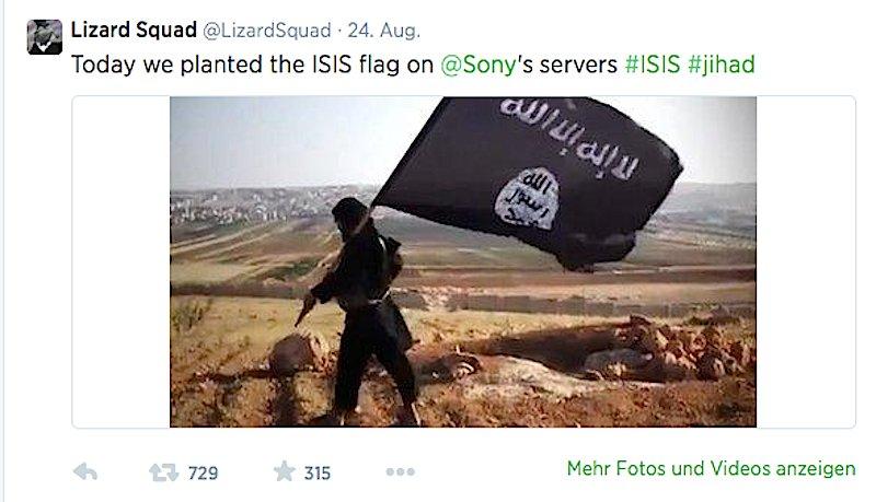 Mit dieser Meldung kündigte die islamistische Hackergruppe LizardSquad an, Sony-Server zu torpedieren.