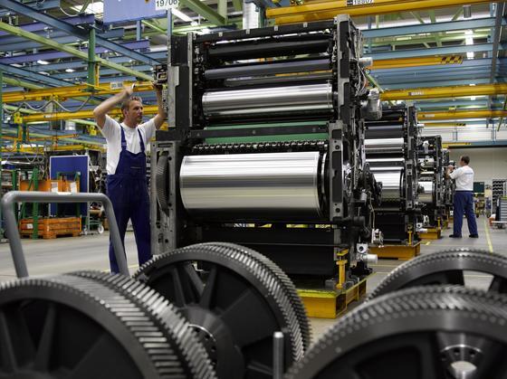 Druckmaschine Speedmaster XL 105 der Heidelberger Druckmaschinen: Unternehmenschef Linzbach hält das Unternehmen und das Kerngeschäft für gesund.