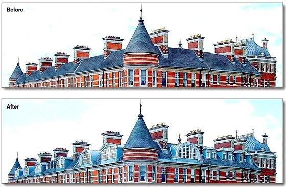 Dachausbau eines denkmalgeschützten Hauses in London: Durch die neu eingesetzten Fensterflächen wirkt das Dach sogar noch lebendiger.