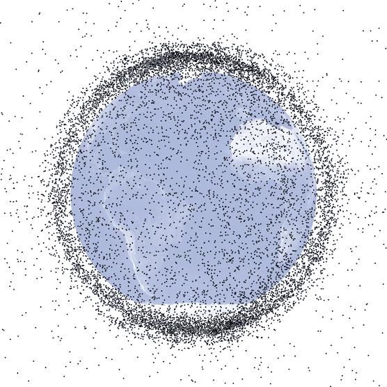 Auch das U.S. Space Surveillance Network beobachtet Weltraumschrott: Rund 20.000 Objekte größer als zehn Zentimeter befinden sich im Orbit, viele sind eine potentielle Gefahr für Satelliten.