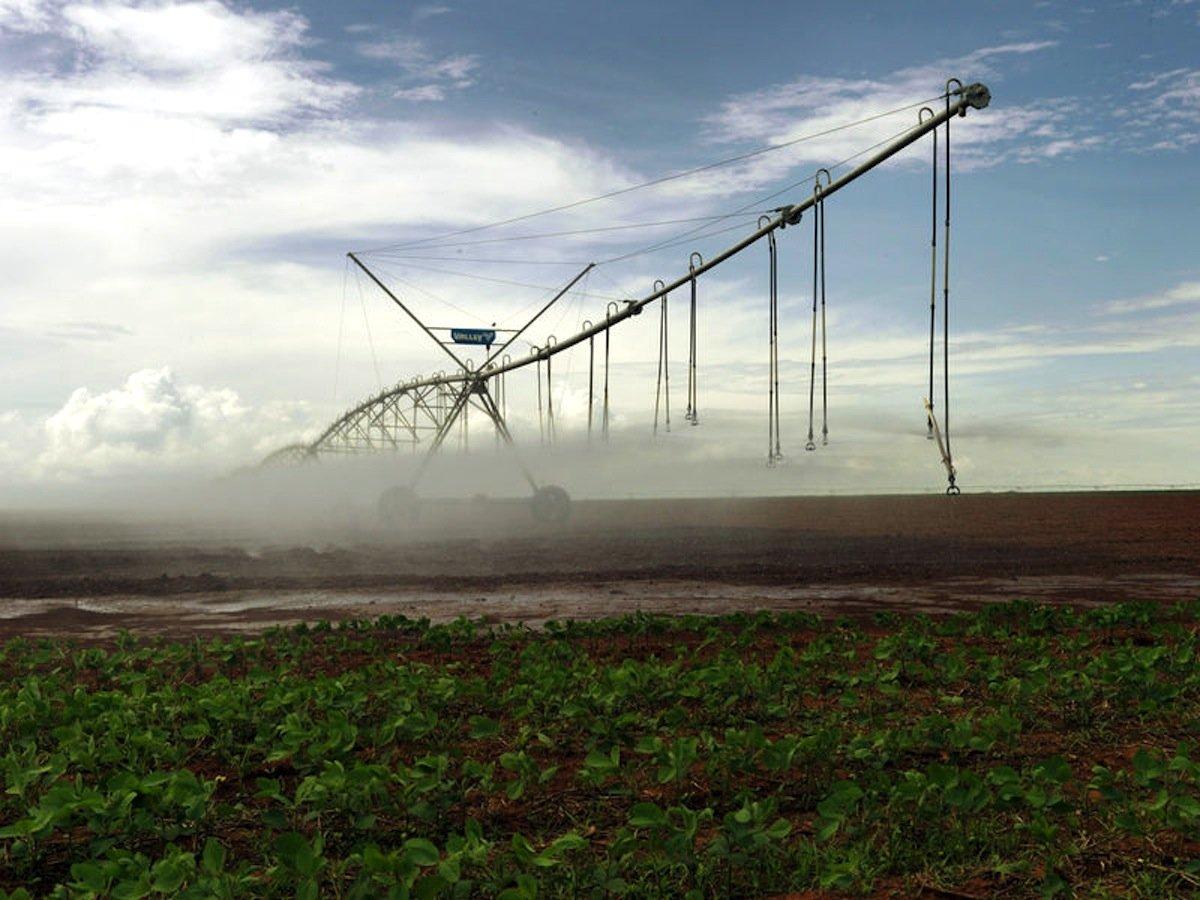 Bewässerung von Soja-Feldern in Brasilien: Die landwirtschaftliche Produktion etwa von Soja in Brasilien, Baumwolle in Pakistan oder Rosen in Kenia für die Industrienationen belastet den örtlichen Wasserhaushalt. Der WWF meint, dass deshalb die Industriestaaten Mitverantwortung tragen für den Wasserverbrauch in den Erzeugerländern.