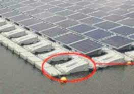 Die Konstruktion dank derer dieSolarpanels schwimmen,ist aus recycelbarem Material.