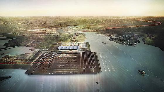 So sah der Britannia in der Vorstellung des Architekten Sir Norman Foster aus: der Großflughafen wäre auf einer künstlichen Themse-Insel entstanden. Die teuren Verkehrsanbindungen haben jetzt einen Strich durch die Rechnung gemacht.