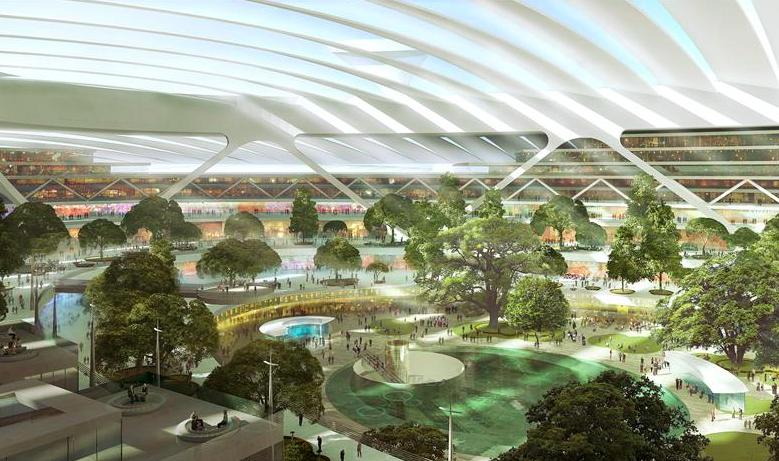 So hätte der Flughafen Britannia im Inneren aussehen können. Doch die Vision des Architekten Foster vom Super-Flughafen für London ist geplatzt.