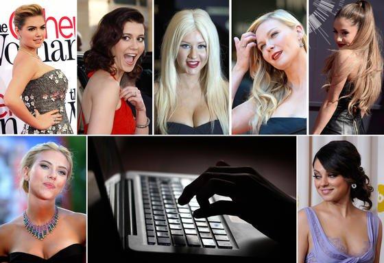 Schock in Hollywood: Ein Hacker stellte Nacktfotos weiblicher Promis ins Netz. Die Bildkombo zeigt die Schauspielerinnen Kate Upton (oben, v.l.n.r.), Mary Elizabeth Winstead, Sängerin Christina Aquilera, Schauspielerin Kirsten Dunst und Sängerin Ariana Grande sowie unten die Schauspielerinnen Scarlett Johansson (li.) und Mila Kunis.